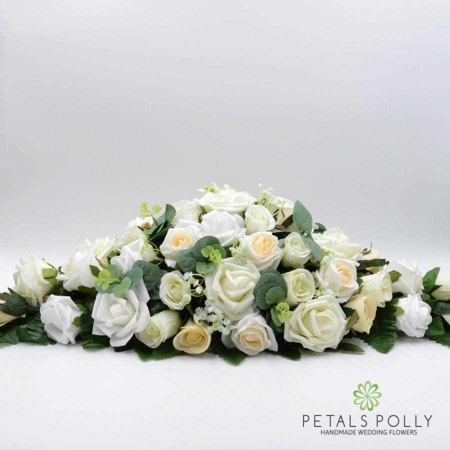 Wedding - Silk Wedding Flowers, Ivory, White & Champagne Rose Top Table Decoration