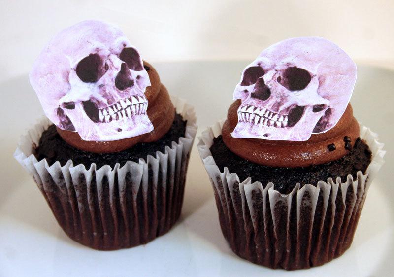 Wedding - Wedding Cake Toppers, Halloween Cake Topper Edible Skulls, Set of 12 DIY Cake Decor, Cupcake Toppers, Halloween Wedding Cake, Gothic Wedding