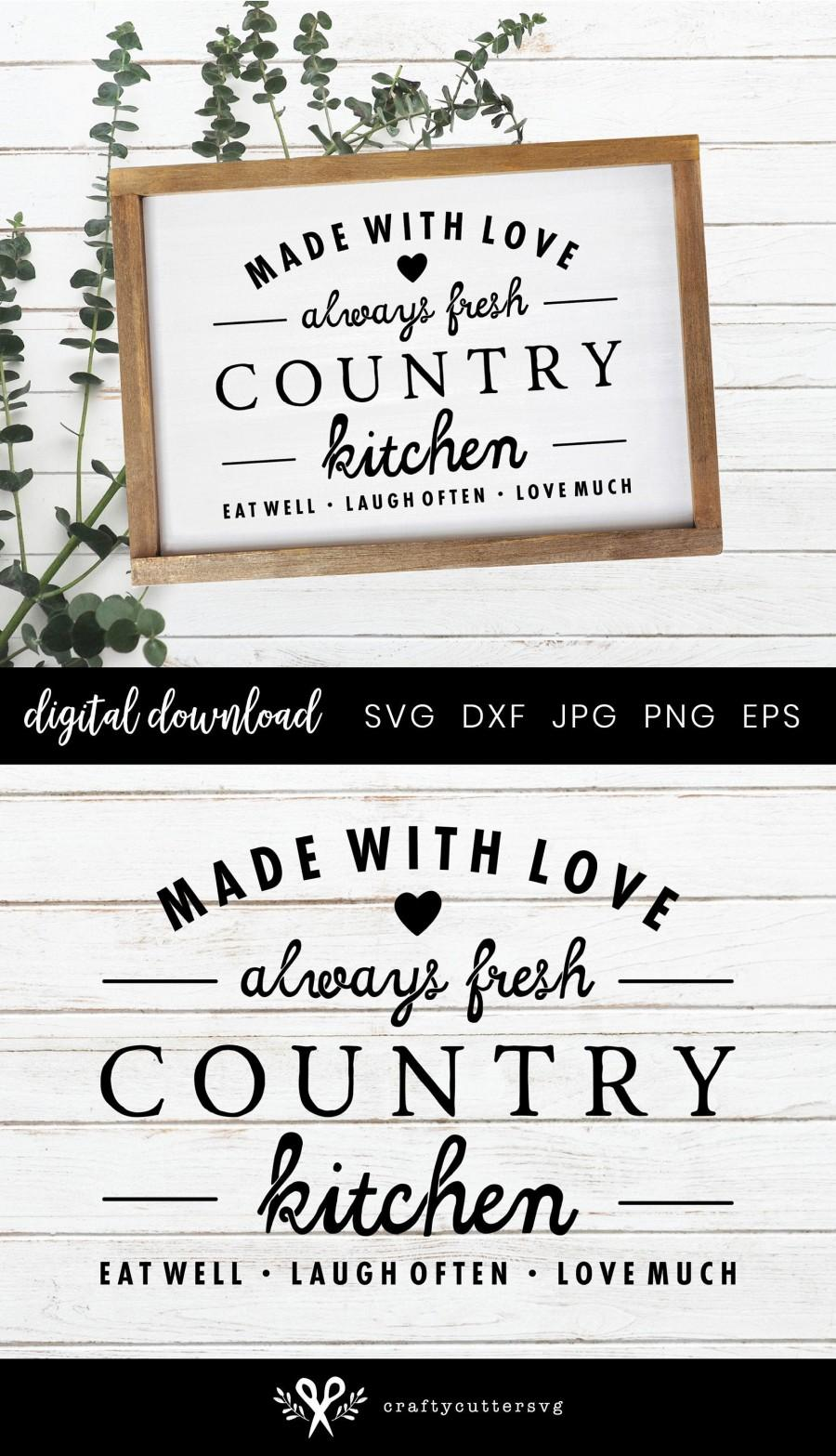 Wedding - Farmhouse Kitchen Sign Svg, Made with love , Fresh country Kitchen, Cooking svg file, Farmhouse clipart, Svg Cut File Cricut Silhouette