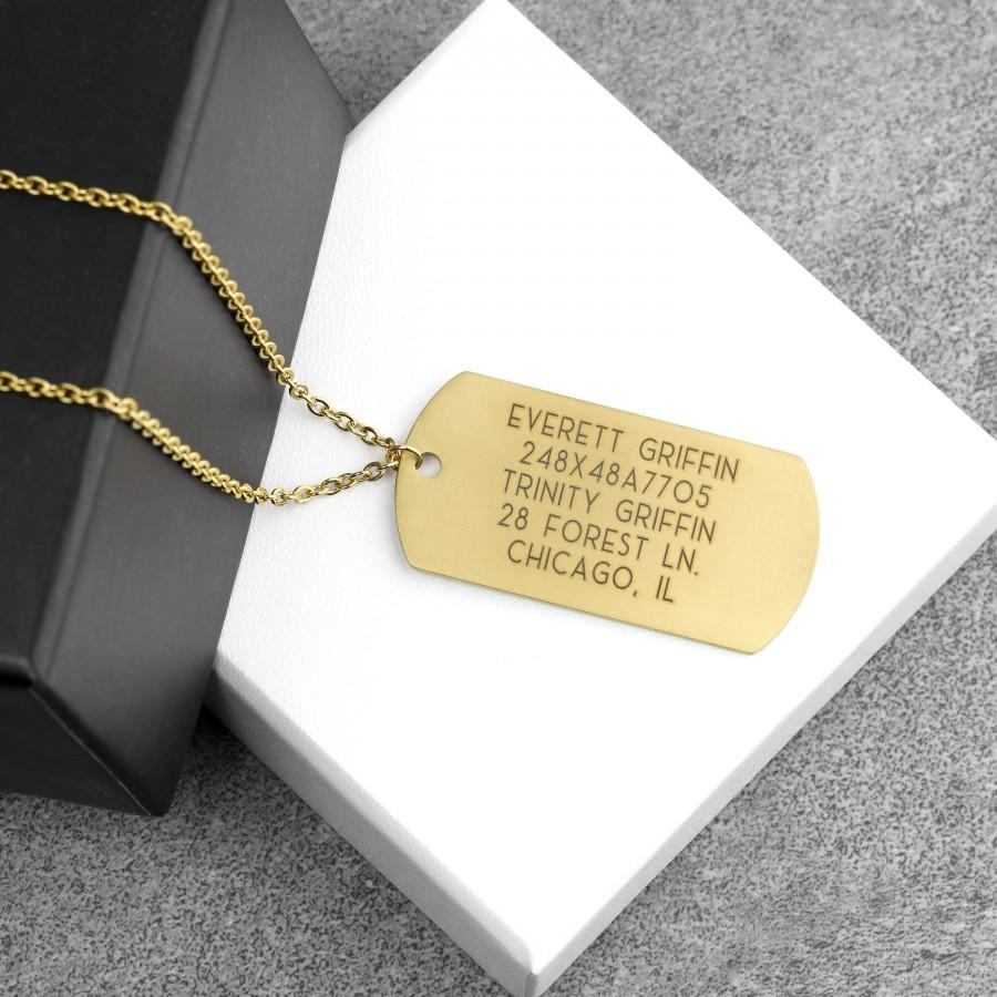 Hochzeit - Personalized Gold Dog Tag Necklace Engraved Fathers Day Gift for Him Husband Boyfriend Gift for Him Name Necklace Birthday - LDTN-M-G