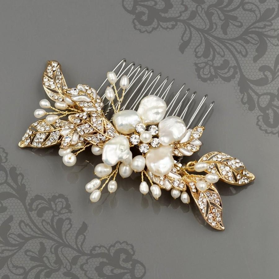 Wedding - Gold Hair Comb, Floral Wedding Hair Comb, Crystal Bridal Hair Comb, Freshwater Pearl Wedding Comb, Crystal Hair Clip, Hair Comb  HMH0172