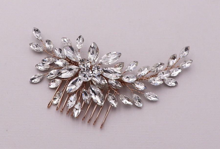 Wedding - Rose Gold Swarovski Comb, Wedding Hair Comb, Handmade Wedding Comb, Crystal Bridal Comb, Shayanne Rose Gold Crystal Hair Comb