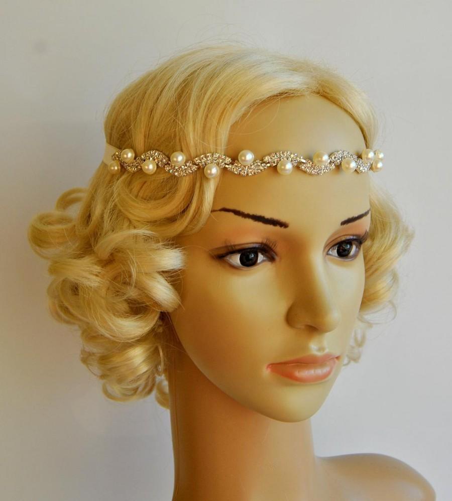 Wedding - Rhinestone pearls Bridal Headband headpiece, Prom Headband, Wedding Flapper Gatsby 1920s headband, Bridal bridesmaid crystal headpiece gift