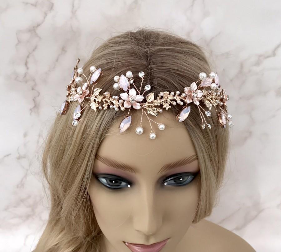 Wedding - Rose gold vine, Blush pink hair piece, Floral hair vine, Bridal hair accessories, Wedding head piece, Brides wreath, Hair jewellery, Flower