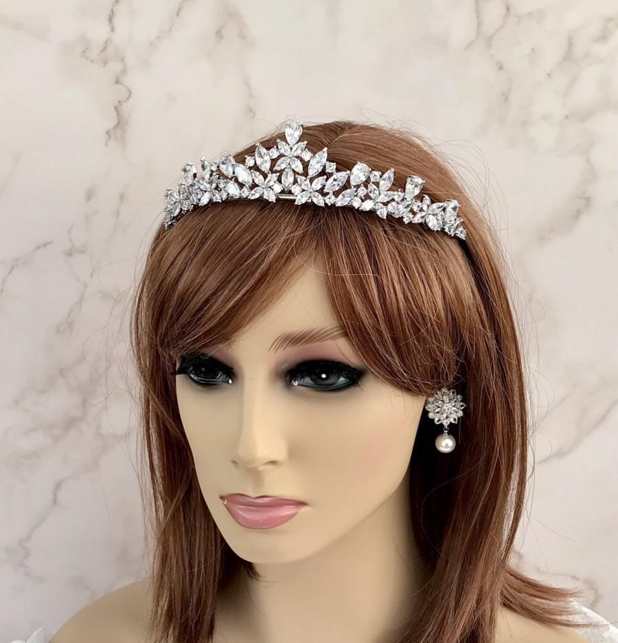 Wedding - Silver tiara, Cubic Zirconia Crystal  crown Crystal headpiece Bridal hair accessories Crystal tiara Wedding hair piece Bridal headpiece