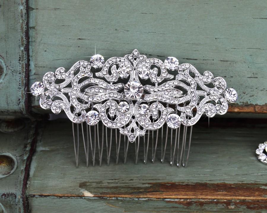 Wedding - Crystal Wedding Hair Comb, Rhinestone Bridal Comb, Silver Wedding Hair Comb, Swarovski Crystal Headpiece, Vintage Bridal Side Comb, CO-005