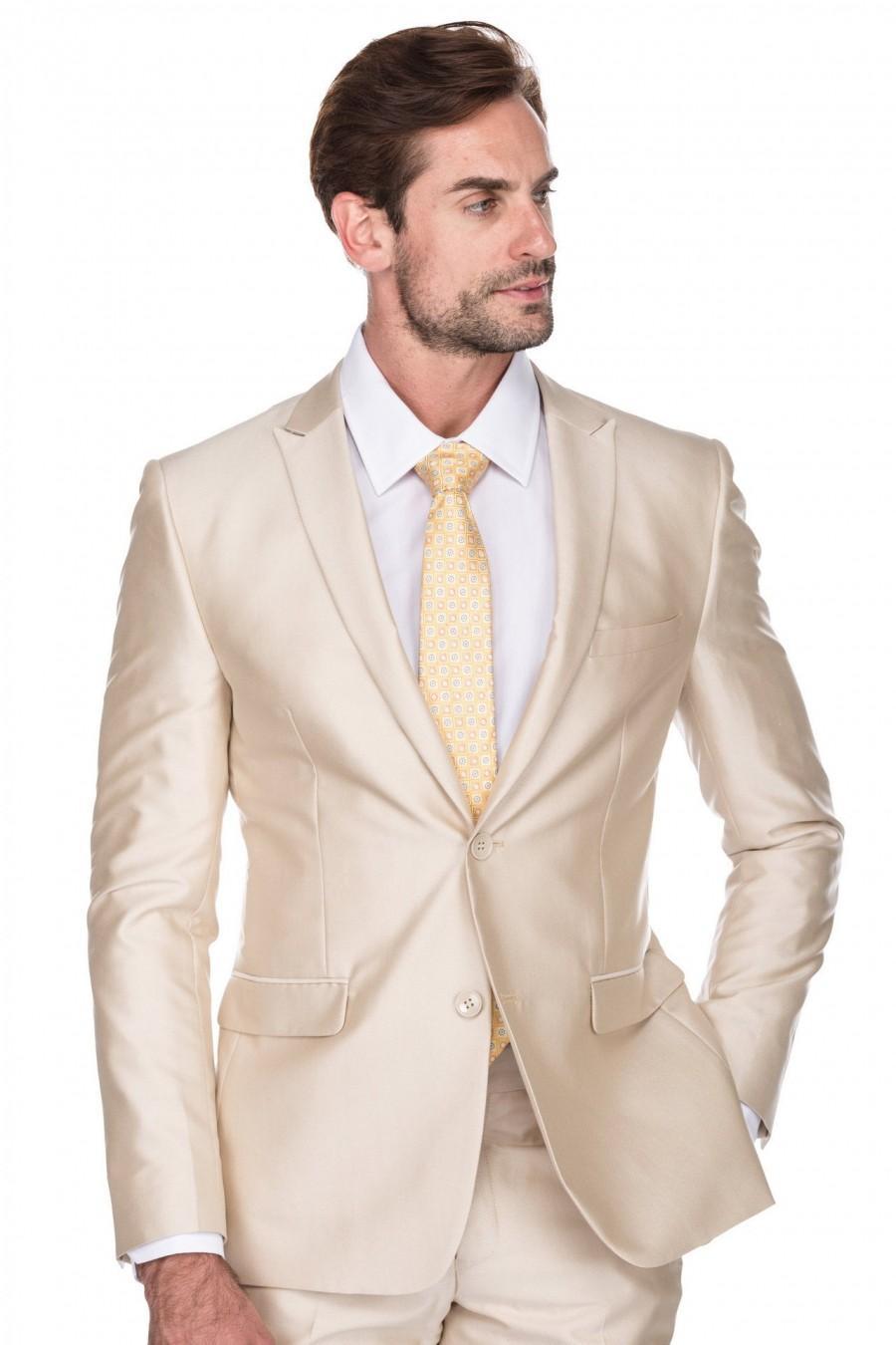Wedding - Porto Filo 2-Piece Textured Champagne Color Men's Slim Fit Wedding Suit