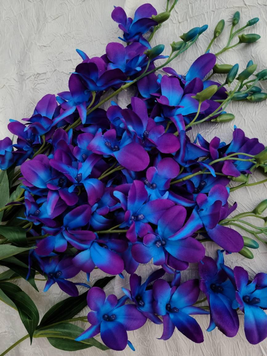 Mariage - Galaxy orchid stems, 4-100 stems artificial purple blue orchids, Singapore orchids, island orchid, silk flowers, fabric