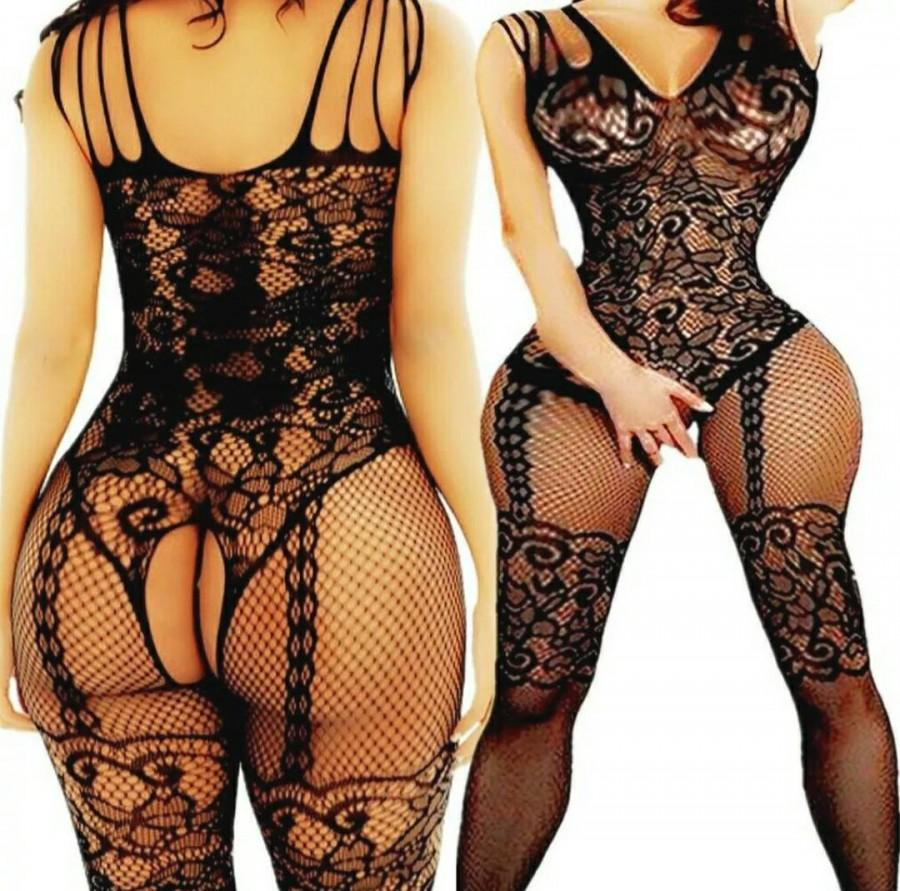Wedding - Beautiful Sexy Black Lace Mesh Crotchless Full Body Stocking Lingerie Underwear