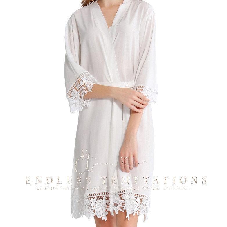 Wedding - WHITE Cotton Lace Robe; Bride; Bridesmaids, bridal robe, brides robe, bridesmaid robe