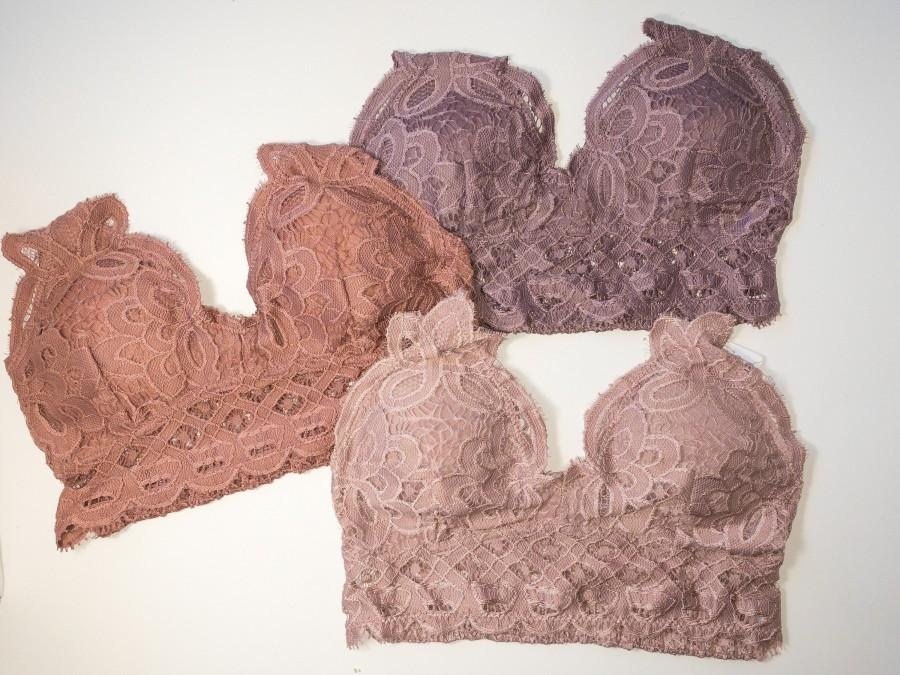 Wedding - Floral Lace Crochet Bralette - Multi Color, Padded, Diamond Shape Smocked Back Bralette