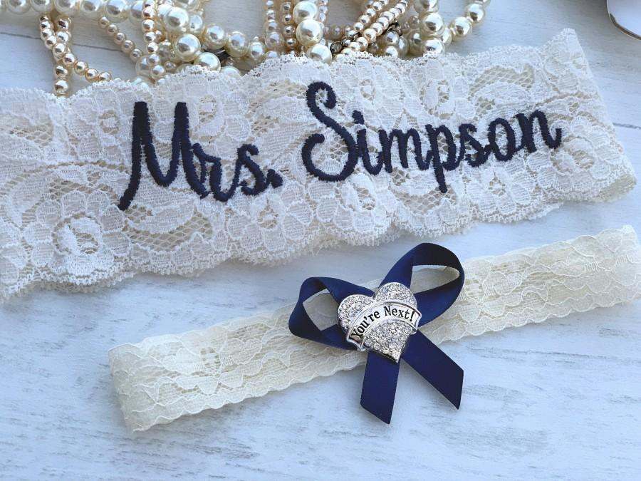 Wedding - Personalized Wedding Garters Brides Something Blue Garter Non Slip Your Are Next