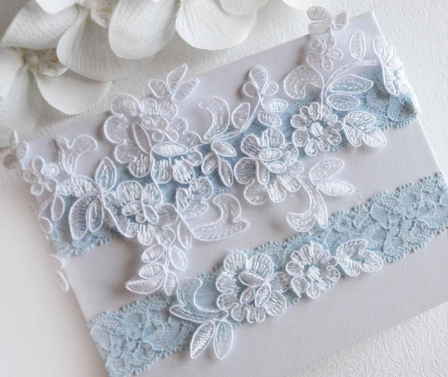 Wedding - Blue Wedding Garter, Bridal Garter Set, Crystal Rhinestone Garter Set, Light Blue Garter, Something Blue Garter
