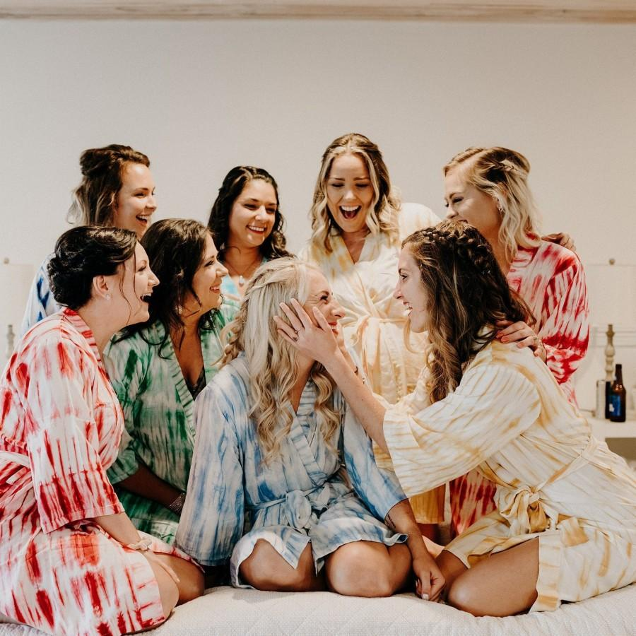 Wedding - Tie Dye Robe,  Bridesmaids gift, getting ready robes, Bridal shower favors, baby shower favor, Tie and Dye Robe, Robes, Kimono, Tye and Dye