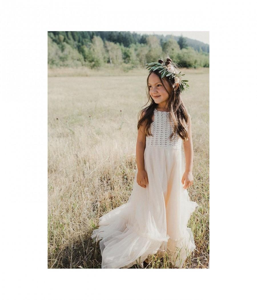 Wedding - Ivory or Cream Boho Flower Girl Dress. Flowergirl Maxi Dress with crochet bodice and soft tulle bottom