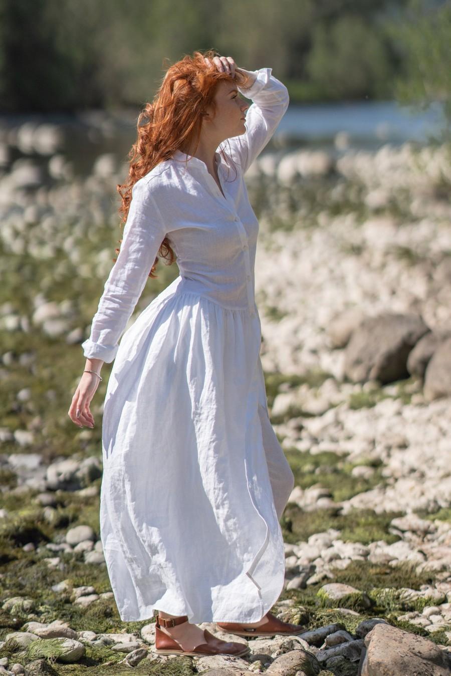 Wedding - Linen Shirt Dress, Linen Dress,  Modest Dress, Maxi Dress, White Summer Dress, Plus Size Linen Clothing, Plus Size Linen Dress, Linen Kaftan