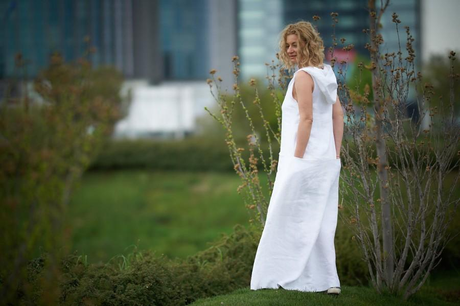 Wedding - White Linen Dress, Linen Maxi Dress, Summer Linen Dress, Hooded Dress, Plus Size Maxi Dress, Linen Kaftan, Boho Linen Dress, Linen Clothing