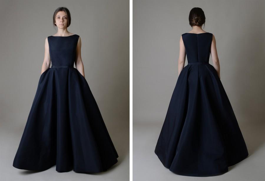 Wedding - Silk taffeta Ball gown ; Black Wedding Dress