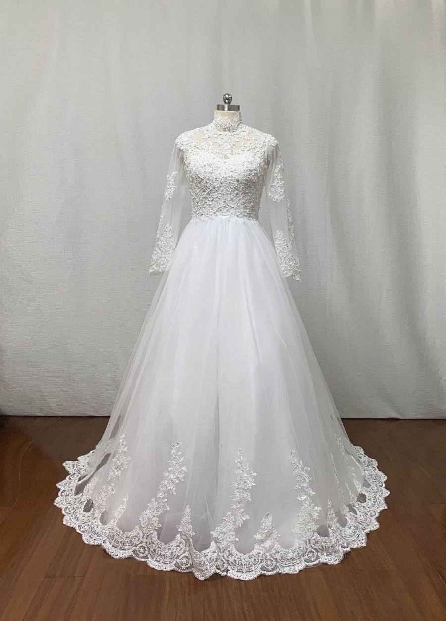 Wedding - Custom Modest High Neck Ivory Lace Tulle Long Wedding Dress Long Sleeve
