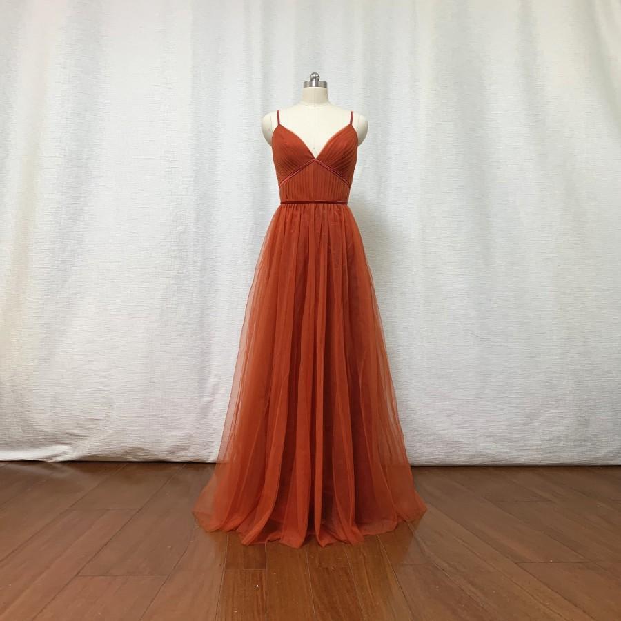 Wedding - Burnt Orange Tulle Bridesmaid Dress 2021 Spaghetti Straps Boho