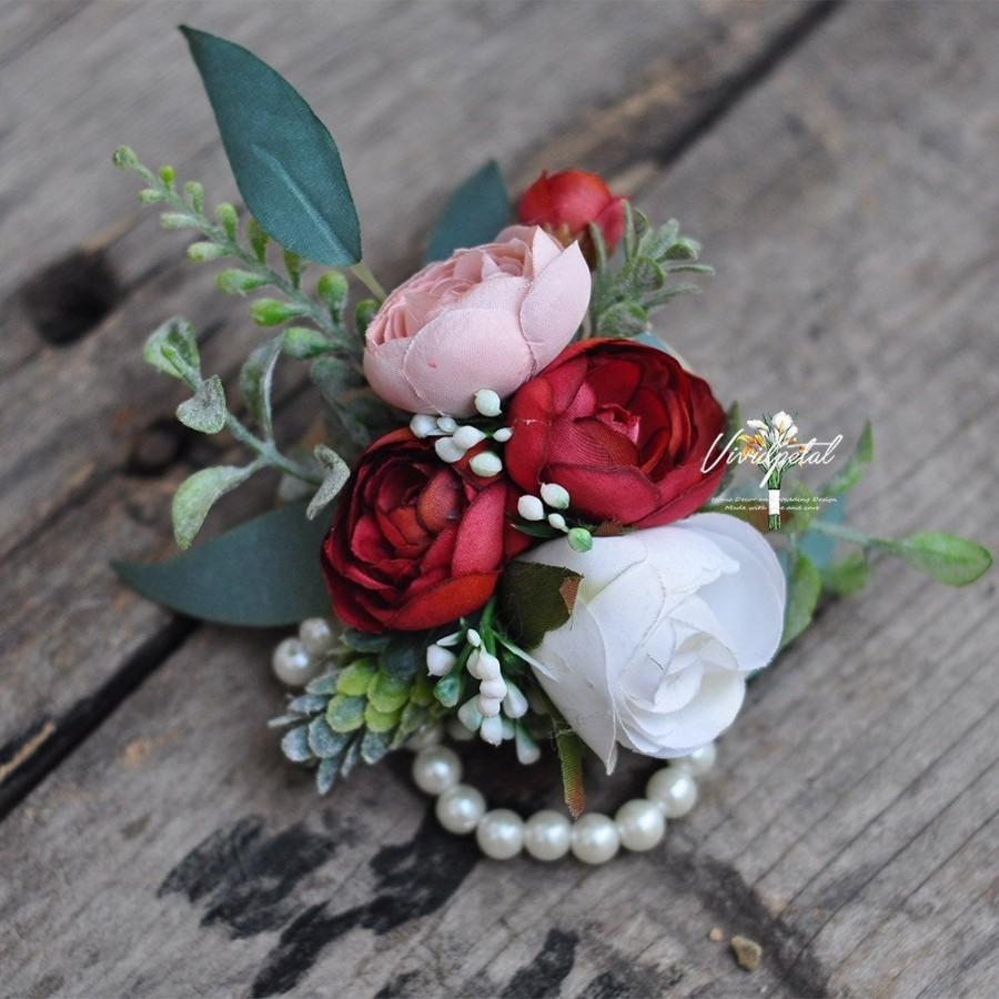 Wedding - Bohemian theme Wrist Corsage Mother's Corsage Botanical Pearl Corsage classical red  lotus Rustic Wedding Corsage