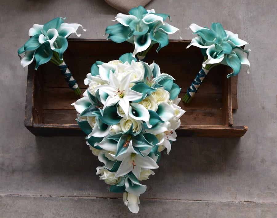 Wedding - Teal Bridal Bouquets, Teal Tiger Lily Roses Calla Lily Wedding Bouquets, Bridesmaids Bouquets, Boutonnieres, Silk Bridal Bouquets