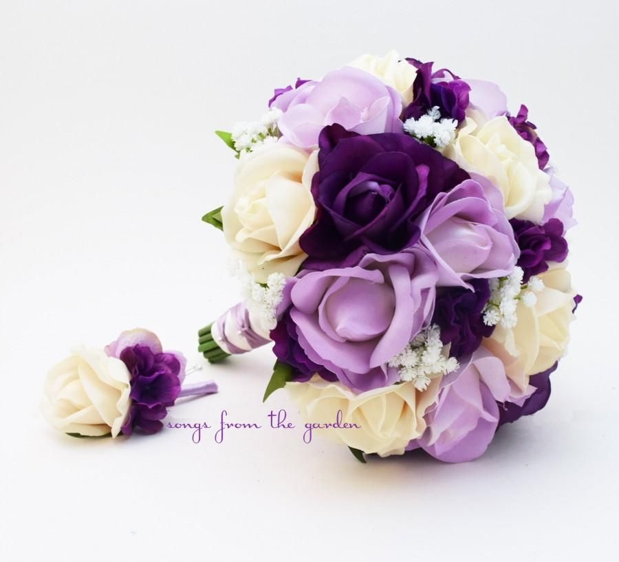Wedding - Bridal or Bridesmaid Wedding Bouquet - Real Touch Purple, Lavender and Ivory Roses & Baby's Breath - add Groom or Groomsman Boutonniere