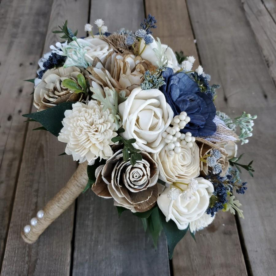 Wedding - Sola Flower Bouquet Wood Flower Bouquet Navy Dusty Blue Wedding Dried Flower Bouquet Fake Flower Bouquet Sola Wood Flowers