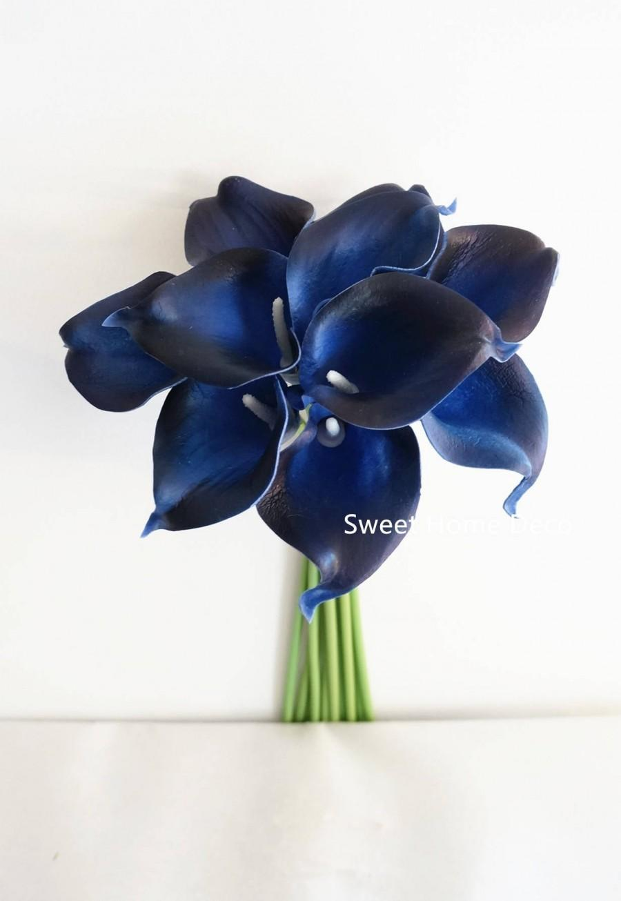 "Wedding - JennysFlowerShop 15"" Latex Real Touch Artificial Calla Lily 10 Stems Flower Bouquet for Wedding/ Home Navy Blue"