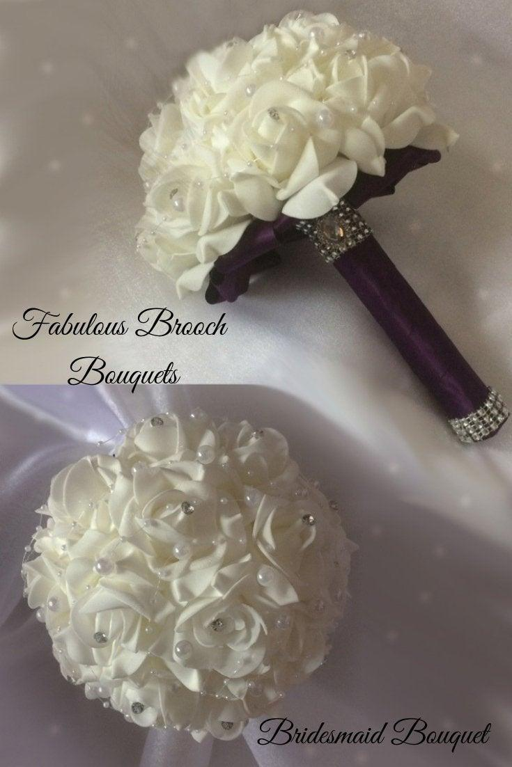 Wedding - Bridesmaid Brooch Bouquet, Wedding Flowers, Made to Order, Choose Your Color Handle
