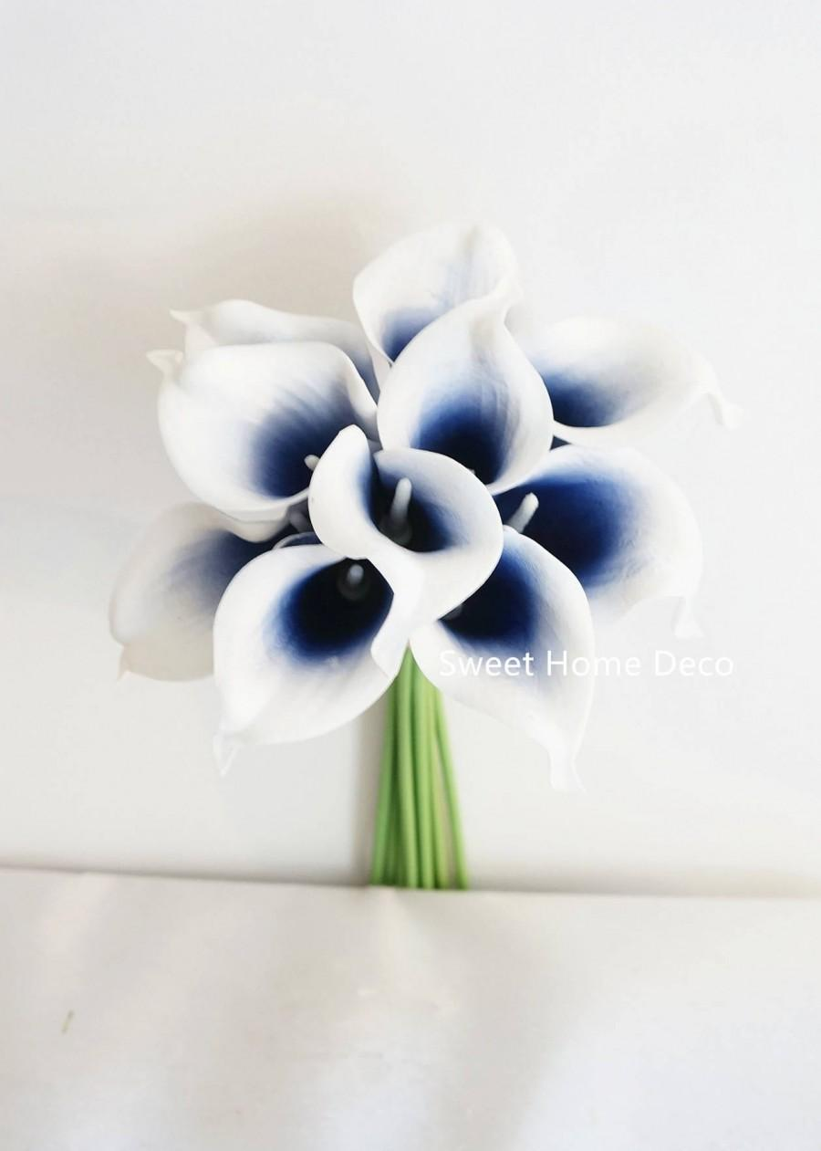 "Wedding - JennysFlowerShop 15"" Latex Real Touch Artificial Calla Lily 10 Stems Flower Bouquet for Wedding/ Home Navy Blue Picasso"