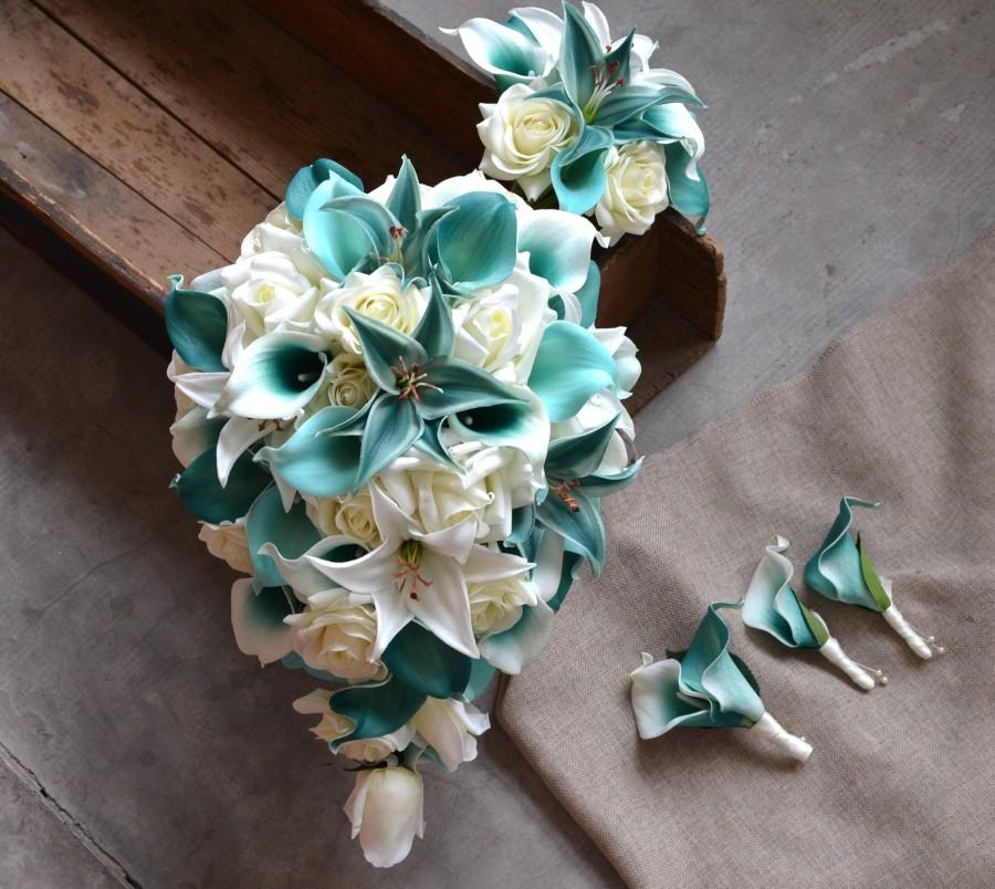 Свадьба - Teal Cascade Bridal Bouquet, Toss Bouquet, Real Touch Flowers Calla Lily Ivory Roses Tiger Lilies Boutonnieres
