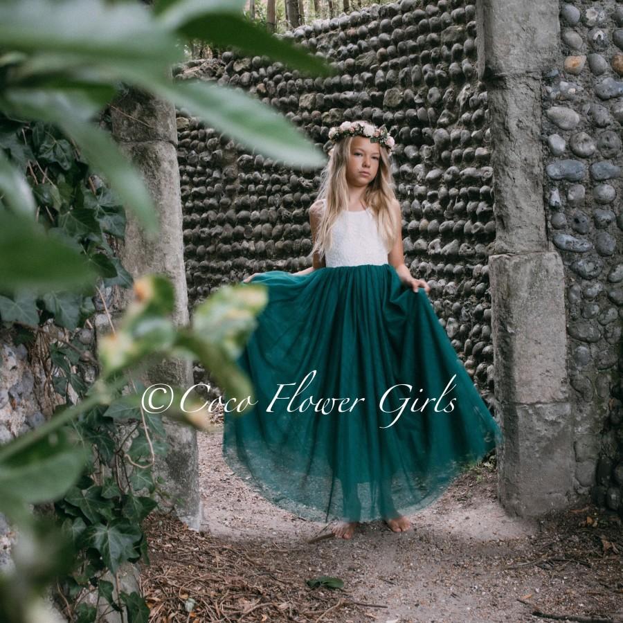 Wedding - Sleeveless Bohemian Style Long Length Hunter Green Classic Flower Girl Dress