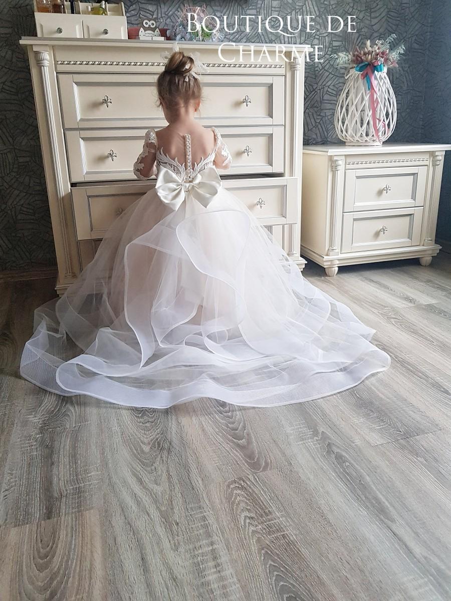 Wedding - Ivory flower girl dress, Flower girl dress tulle, Lace flower girl dress, Girl wedding dress,Junior bridesmaid dress,Flower girl dress train