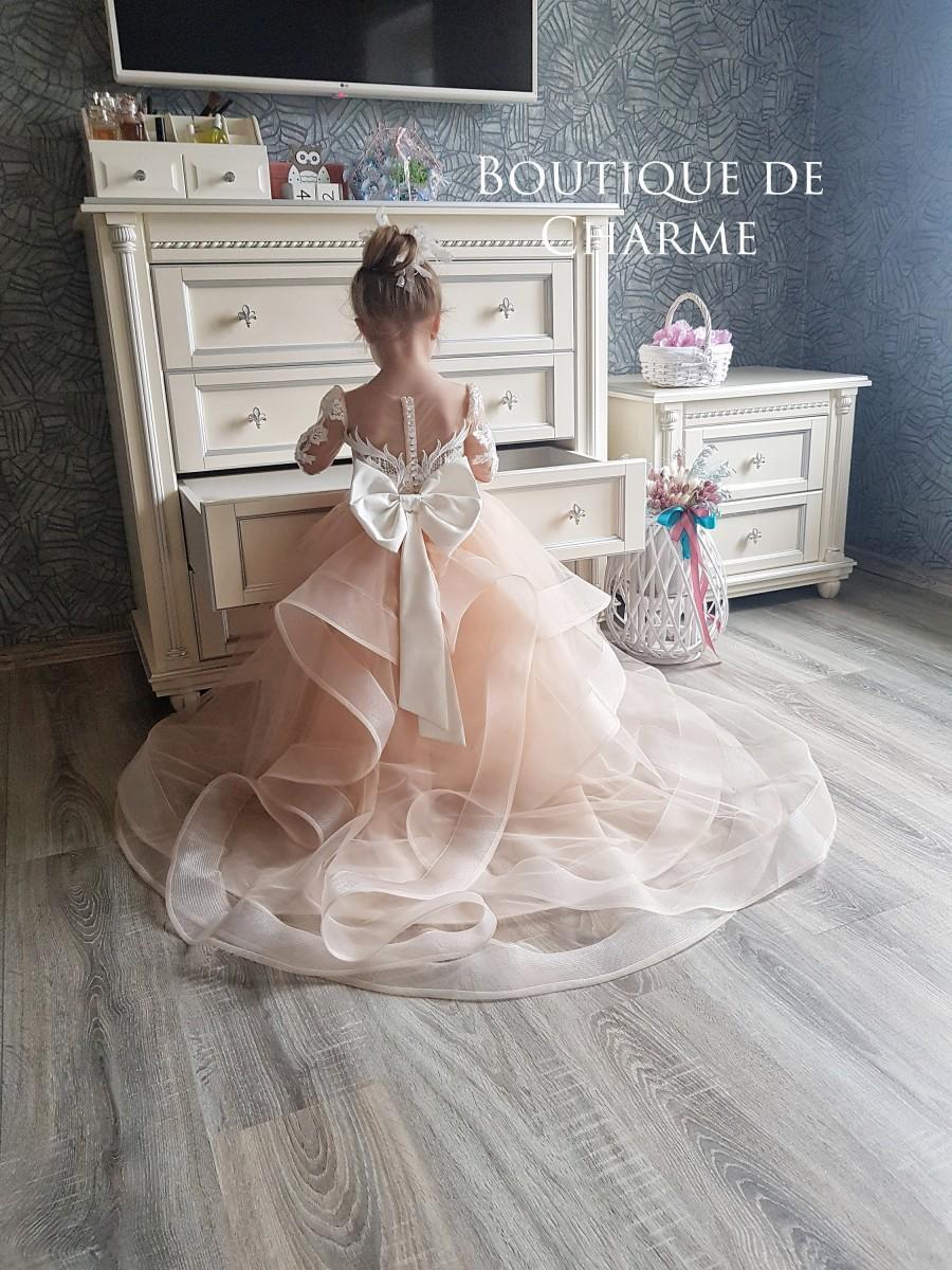 Wedding - Lace flower girl dress,Flower girl dress with train,Flower girl dress tulle,Tutu girl dress,Flower girl dress long sleeve,Girl wedding dress