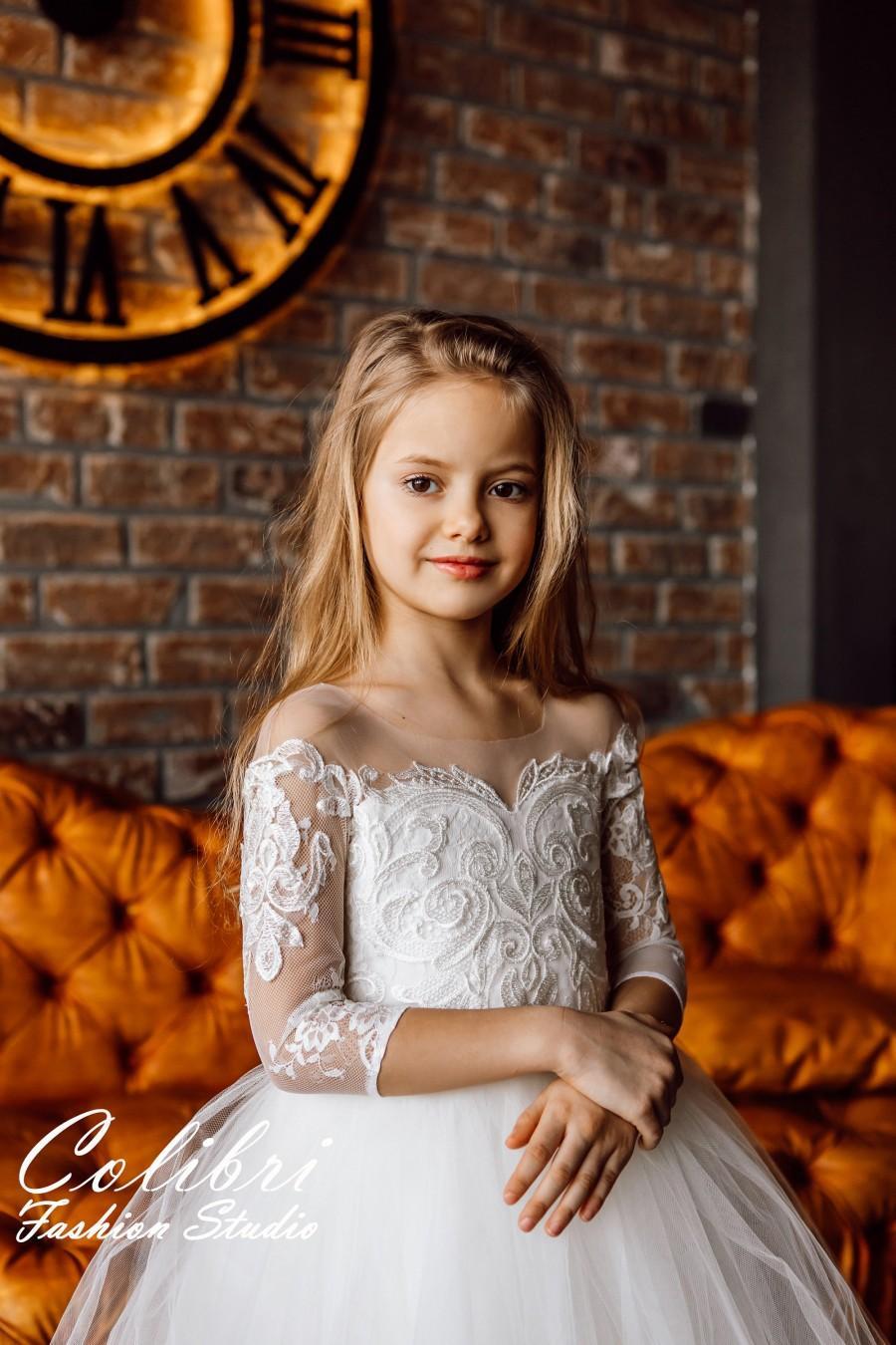 Wedding - Flower girl dress, Communion dress, Flower girl dress tulle, Flower girl dress long sleeve, Lace flower girl dress,  Wedding girl dress