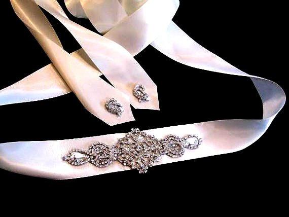 Wedding - Daphe Bridal Dress Gown Beaded Jeweled Crystal Belt Sash