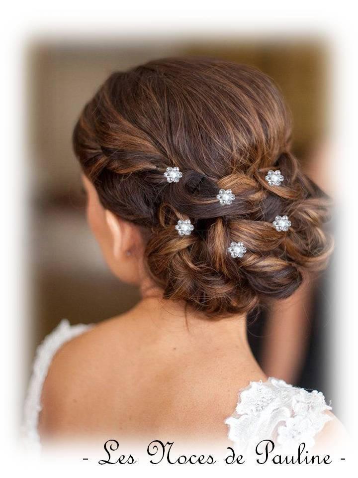 Wedding - White bun spikes silver Pearl flowers 3-Pack wedding pins hair rhinestone