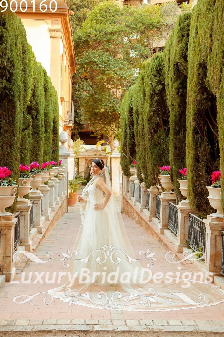 Wedding - 3X3 M , Cathedral Wedding Veil Mantilla Lace Wedding Veil Bridal Veil Ivory Veil  Crystal Pearl Sequins Alencon Lace Drop Veil  Vintage Veil