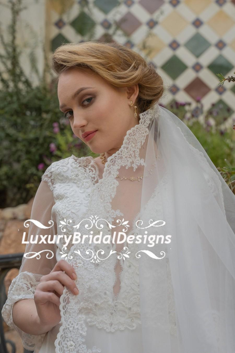 Wedding - 3X3 m Cathedral Lace Wedding Veil Wide Bridal Veil Mantilla Veil Bridal Veil Long Veil Lace Veil Ivory Veil, Ivory Veil, Lace Mantilla Veil