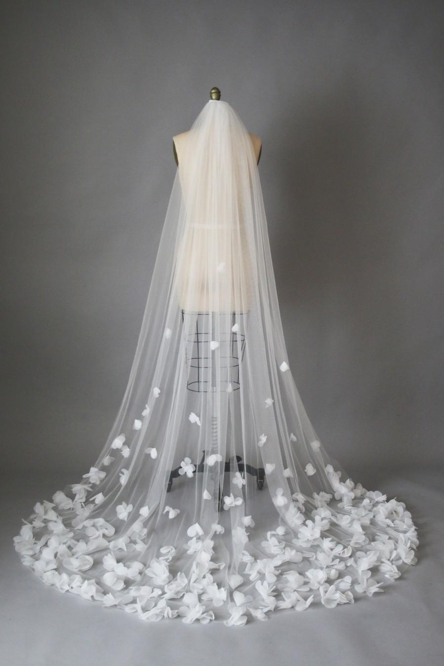 Wedding - CLO veil, Wedding veil, cathedral veil, chapel veil, flower veil, floral veil, white veil, ivory veil, custom made veil