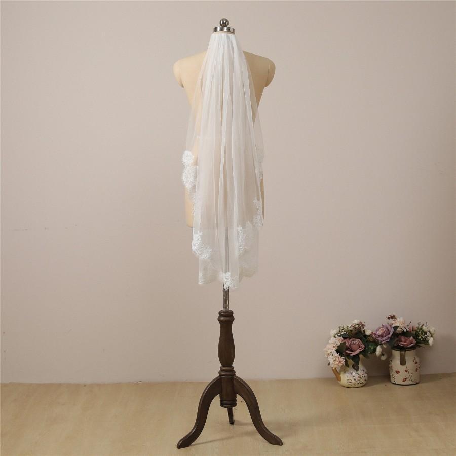 Wedding - Chantilly Lace Veil Ivory Eyelash Lace Bridal Veil Fingertip Wedding Veil Sheer Wedding Veil Elbow Length Lace Veil Soft Hip Length Veil