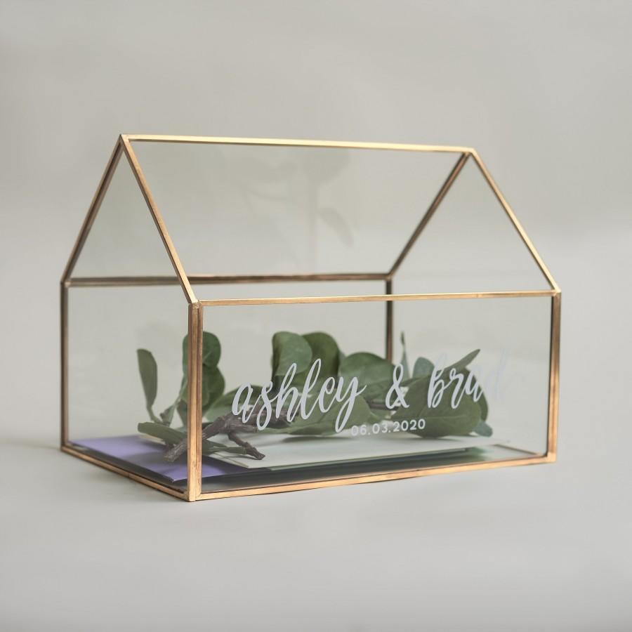 Wedding - Gold Glass House Card Box - Personalized Wedding Card Box - Glass Card Box - Wedding Decorations - Wedding Card Box