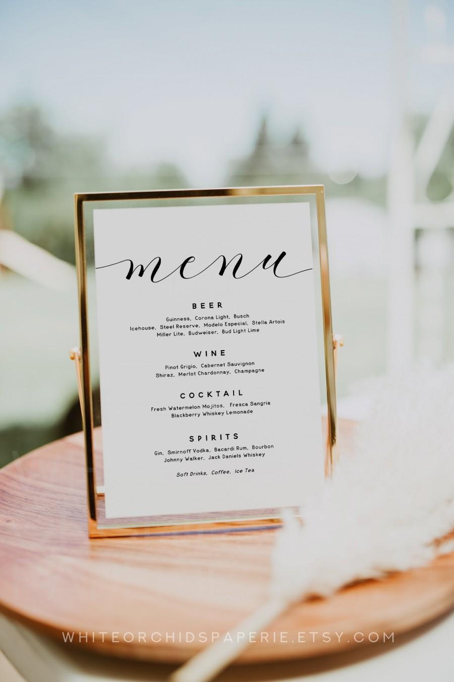Wedding - Wedding Bar Menu, Wedding Bar Sign, Wedding Bar Menu Template, Wedding Bar Template, Wedding Bar Menu Printable, Cocktail Menu Sign, C01