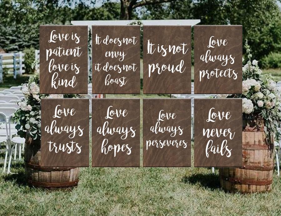 Wedding - Wedding Aisle Signs, 1 Corinthians 13, Love Is Patient love is kind, Rustic Wedding, Ceremony Decor, Wedding Decor, Set of 8 10 12