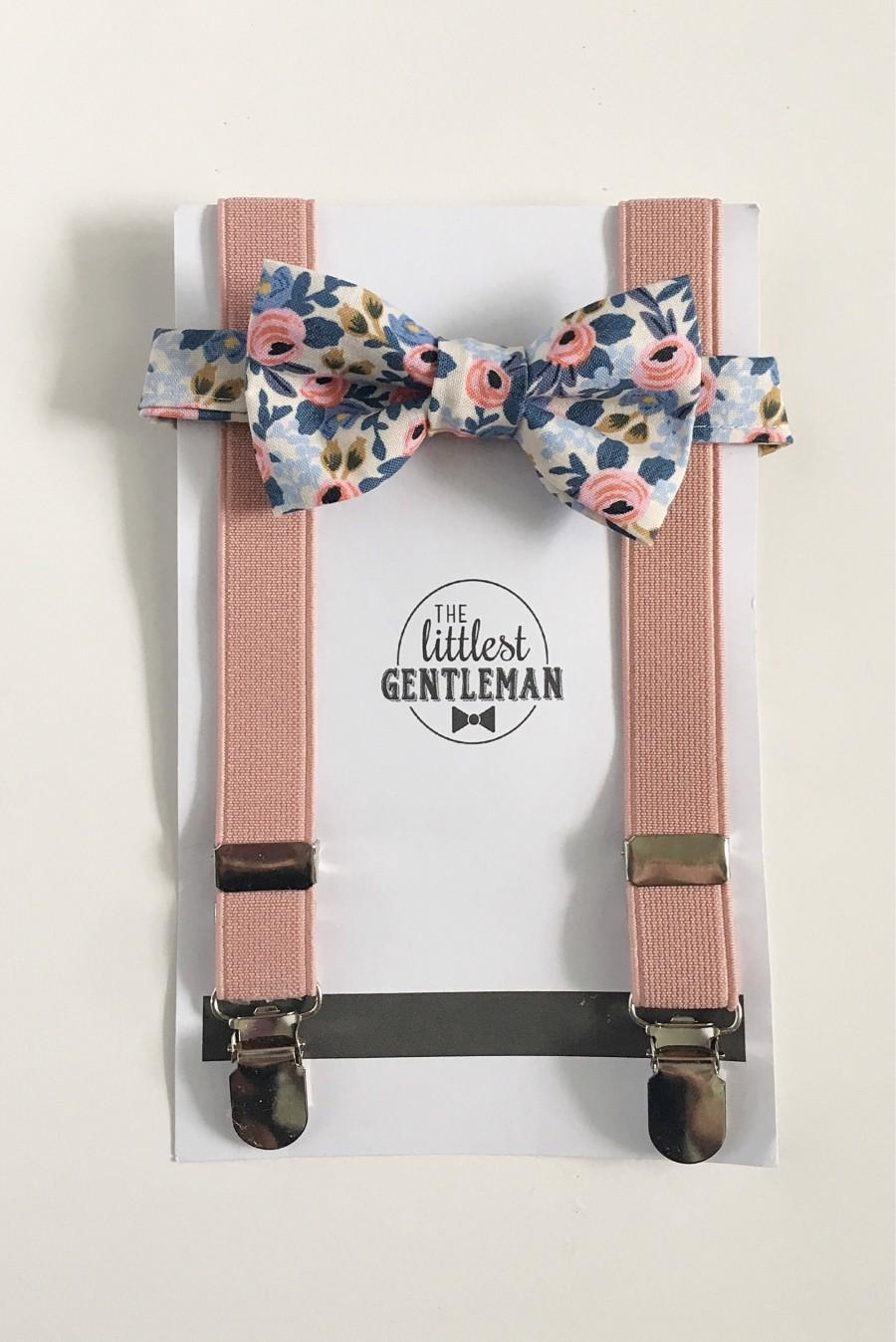 Wedding - boys pink floral bow tie and suspenders set , baby boy navy suspenders, suspenders, ring bearer outfit, page boy, braces, boys wedding bow