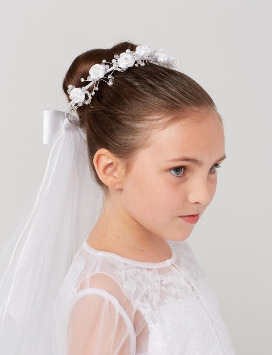 Wedding - First Holy Communion Wedding flower Bun edged white tulle Veil attached Bride