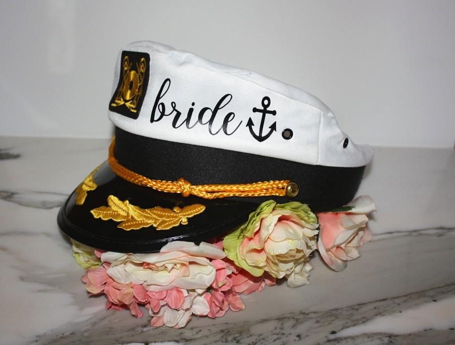 Wedding - BRIDE CAPTAIN HAT. Sailor Hats. Bride's Mate. Bride's Crew. Last Sail. Snap Back Custom Bachelorette Hat. Nauti Bride. Ship Faced. Yacht Hat