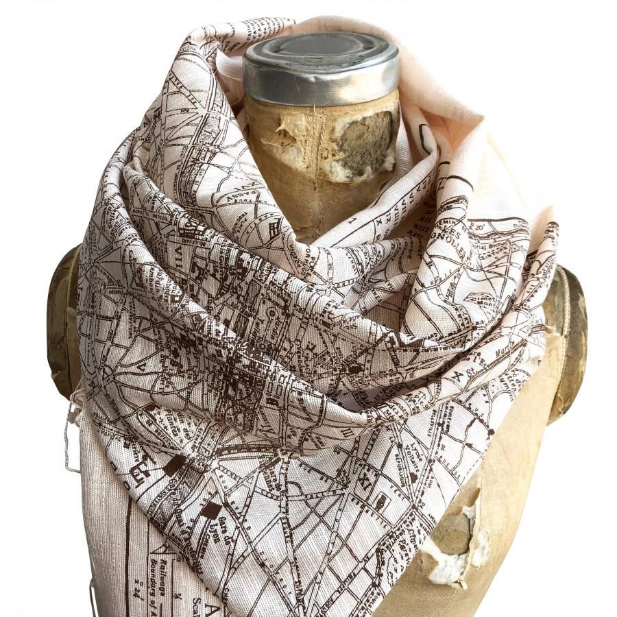 Wedding - Paris Map Scarf. French map print fringed scarf. Bamboo pashmina, bridal shawl. Paris France wedding, Parisian, destination wedding in Paris