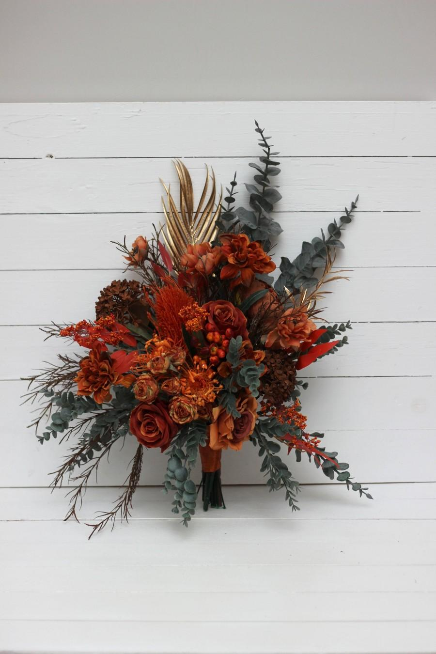 Wedding - Banksia boho bouquet Rust Terracotta Burnt orange flowers Bridal bouquet Faux bouquet Fall wedding  Silk flowers -size 14 inch